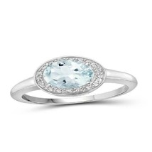 1 1/7 Carat T.G.W. Aquamarine and White Diamond Accent Sterling Silver Ring - $172.25