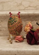 Lovers Faberge Egg  24kt GOLD ANNIVERSARY Peacocks Jewelry box Bracelet matching - $499.00