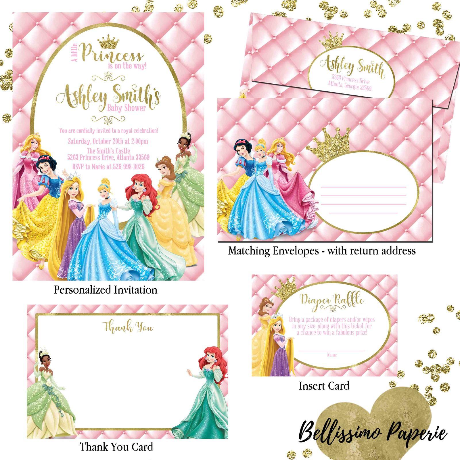 Princess baby shower invitation set thank and 50 similar items princess baby shower set listing filmwisefo