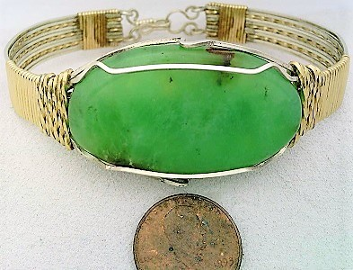 Primary image for Chrysoprase Gold Filled Argentium Silver Wire Wrap Bracelet Sz. 8.5