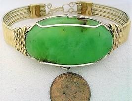 Chrysoprase Gold Filled Argentium Silver Wire Wrap Bracelet Sz. 8.5 - $59.99