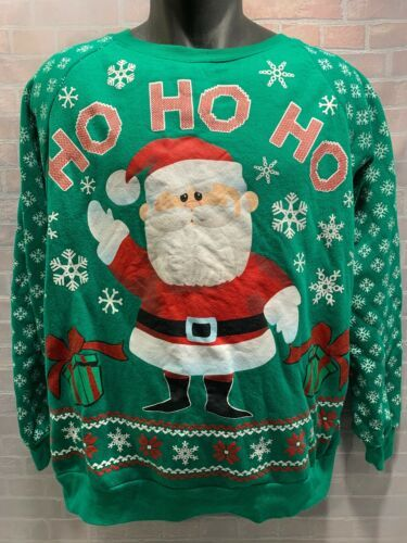 Primary image for RUDOLPH Red Nosed Reindeer SANTA Ho Ho Ho Ugly Sweater Shirt Size XL (15-17)