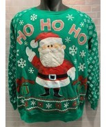 RUDOLPH Red Nosed Reindeer SANTA Ho Ho Ho Ugly Sweater Shirt Size XL (15... - $14.84