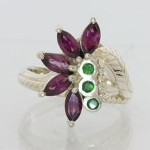 Red Purple Rhodolite Green Tsavorite Garnets Handmade Silver Ladies Ring sz 7.75 - £110.44 GBP
