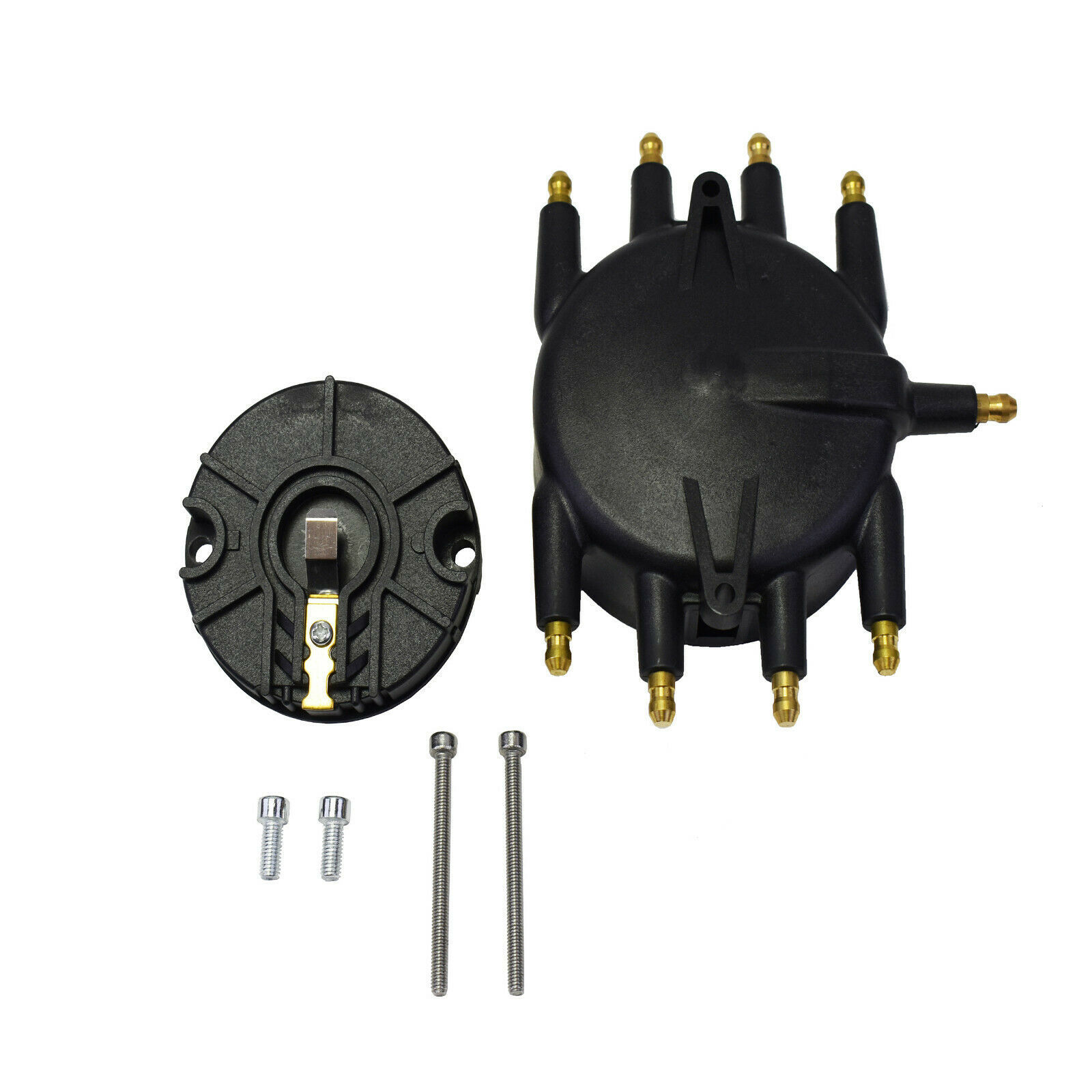 Low Profile Crab Style Replacement Distributor & Rotor Cap Male Black MSD Type