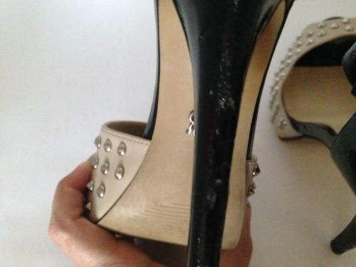 81fb82e2db7 Rock Republic Studded Tan and Black Sexy Platform Heels with Buckle Strap  7.5