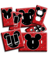 MICKEY MOUSE EARS RED STARS LIGHT SWITCH OUTLET WALL PLATE BABY NURSERY ... - $10.99+