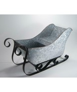 Eclectic Galvanized Metal Sleigh Tabletop Center Piece Christmas Holiday... - $25.30