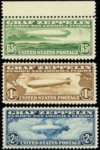 C13-15, Mint VF NH Set of Three Zeppelin Stamps Very Fresh! Cert - Stuar... - $1,450.00