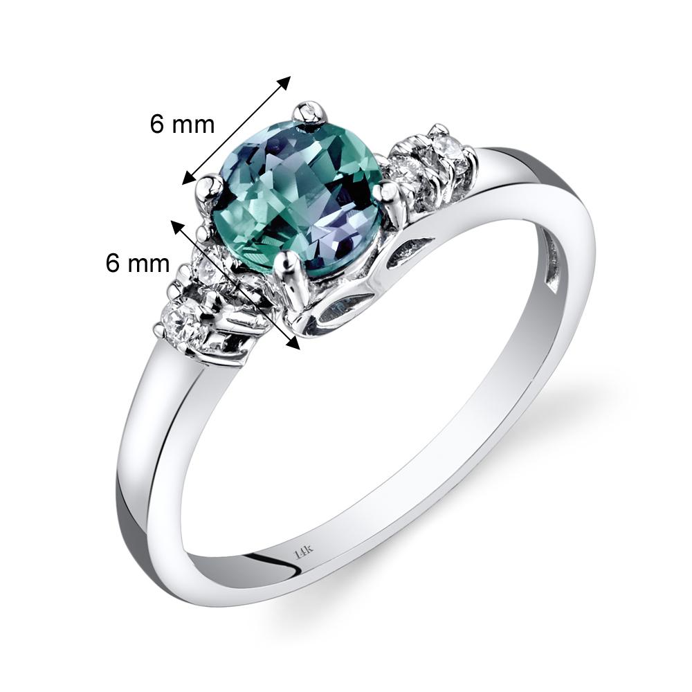 14K White Gold 1 Carat Created Alexandrite & Diamond Ring