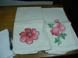 2 pc lot  Vintage Applique   Hand towels  Tea Towels  Roses  18 X 28 inches - $6.50