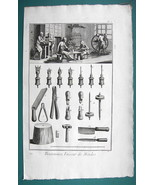 1763 DIDEROT PRINT - Button Maker Interior View of Shop Making Molds - $21.42