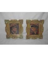 "Neat Pair 4 3/4"" X 5 3/4"" Women Prints HULDAH Framed - $73.35"