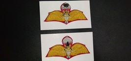Original 2 Royal Thai Army Parachutist Wings Golden tinsel Handmade Back Pins - $83.04