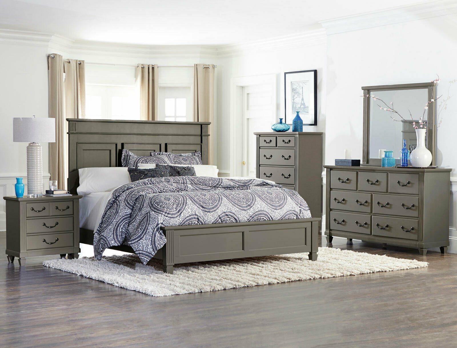 traditional gray wood master bedroom suite furniture