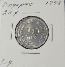 1978 SINGAPORE 20 CENTS  AU/BU NICE COIN  - $5.99