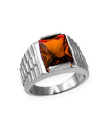 Sterling Silver Mens Square CZ January Birthstone Watchband Ring - $64.99