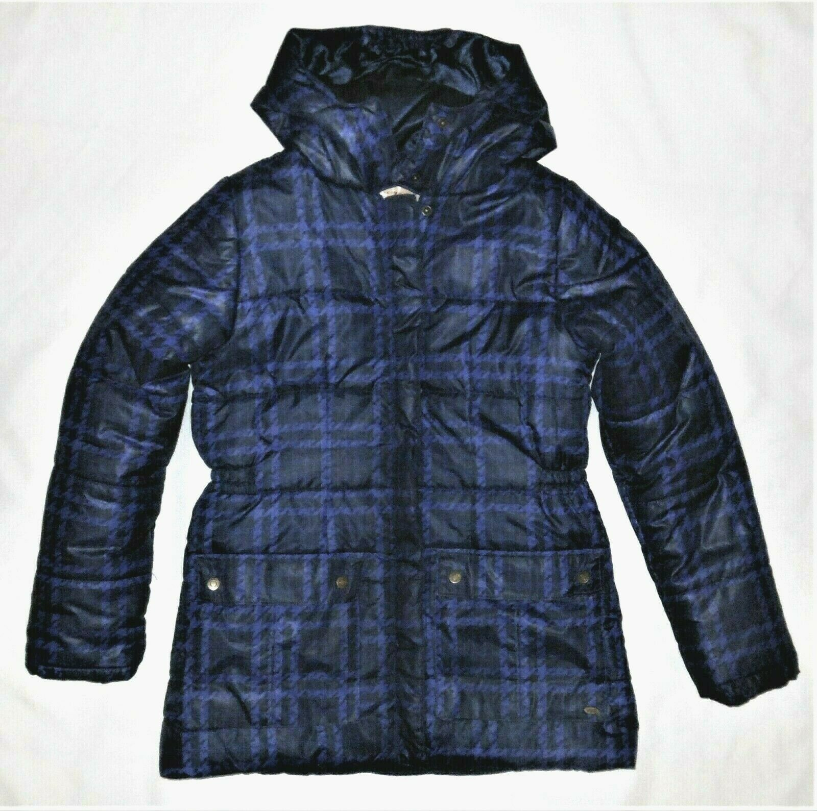 Primary image for Tommy Hilfiger Girls Puffer Jacket Size L 12 14 Plaid Blue Hood Winter Large