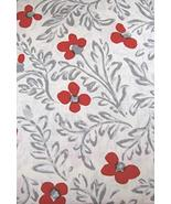 "Kate Spade Floral Blockprint Gray/Red-Orange Tablecloth 120"" Oblong - $37.00"