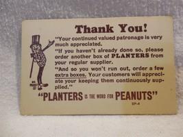 Vintage 1940/50s Planters Peanut Mr Peanut Cardboard Store Thank You Car... - $3.55