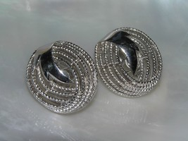 Vintage Trifari Marked Twisted Silvertone Open Swirl with Ribbon Clip Earrings – - $10.39