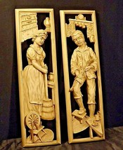 Man and Woman rectangular ceramics wall plaques AA20-2403 Vintage A Universal Or