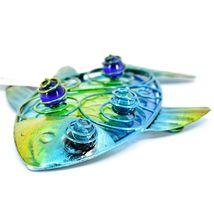 "8"" Blue & Yellow Fish Metal & Glass Ocean Marine Beach Coastal Wall Decor image 3"