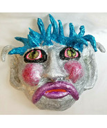 Handcrafted Wall-Hanging Mask Fantasy Character 'MALOW' Sculpture by Bren - £38.00 GBP