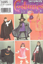 Vampire Witch Bat Man Childrens Costumes size 3-8 Simplicity 3995 Sewing... - $7.42