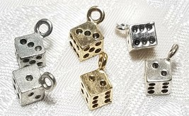 DIE FINE PEWTER PENDANT CHARM - 5x11.5x5mm (Singular of Dice) image 1