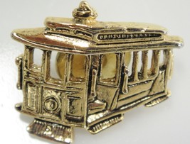San Francisco Cable Trolley Car Pin Tie Tack Gold Tone Figural Excellent - $9.89