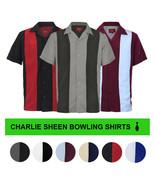 Men's Retro Classic Charlie Sheen Two Tone Guayabera Bowling Casual Dres... - $21.77+