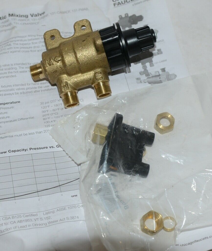 Chicago Faucets Thermostatic AB Mixing Valve Product Number 131 ABNF