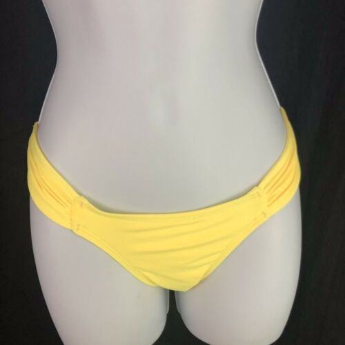 L Space Monique Side Ruched Bikini Bottom Full Coverage Yellow Womens M Medium