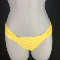 L Space Monique Side Ruched Bikini Bottom Full Coverage Yellow Womens M ... - $19.80