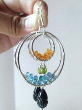 Natural Aquamarine, Peridot, Garnet and Black Tourmaline Large Hoop Earr... - $108.00