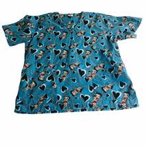 Betty Boop Nursing Scrub Top 1X Blue Cartoon Novelty Uniform Shirt - $18.69