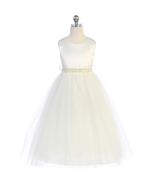 Ivory Satin Bodice Mesh Tulle Skirt with Pearl and Rhinestone Waist Sash - $38.00
