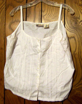 Sz XL - Faded Glory White Sleeveless Embroidered Top  - $23.74
