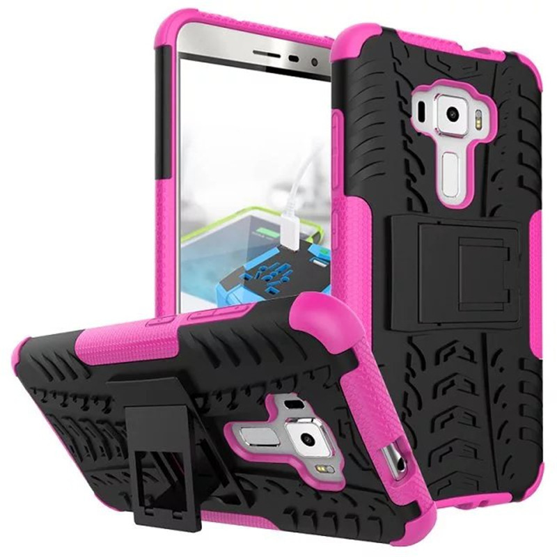 Hybrid armor kickstand cover case for asus zenfone 3 ze552kl 5 5inch hot pink p20160708155406469