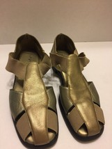 "What's What Aerosoles Woman's 8 1/2""M Gold Pewter  Sandals Leather Slip On - $14.01"
