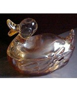duck powder/candy jar Jeannette glass-Irridescent/carnival-Depression era - $7.00