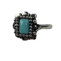 Silver Toned Ring With Faux Turquoise Robin Egg Blue Rectangle  Size 4 - $18.66