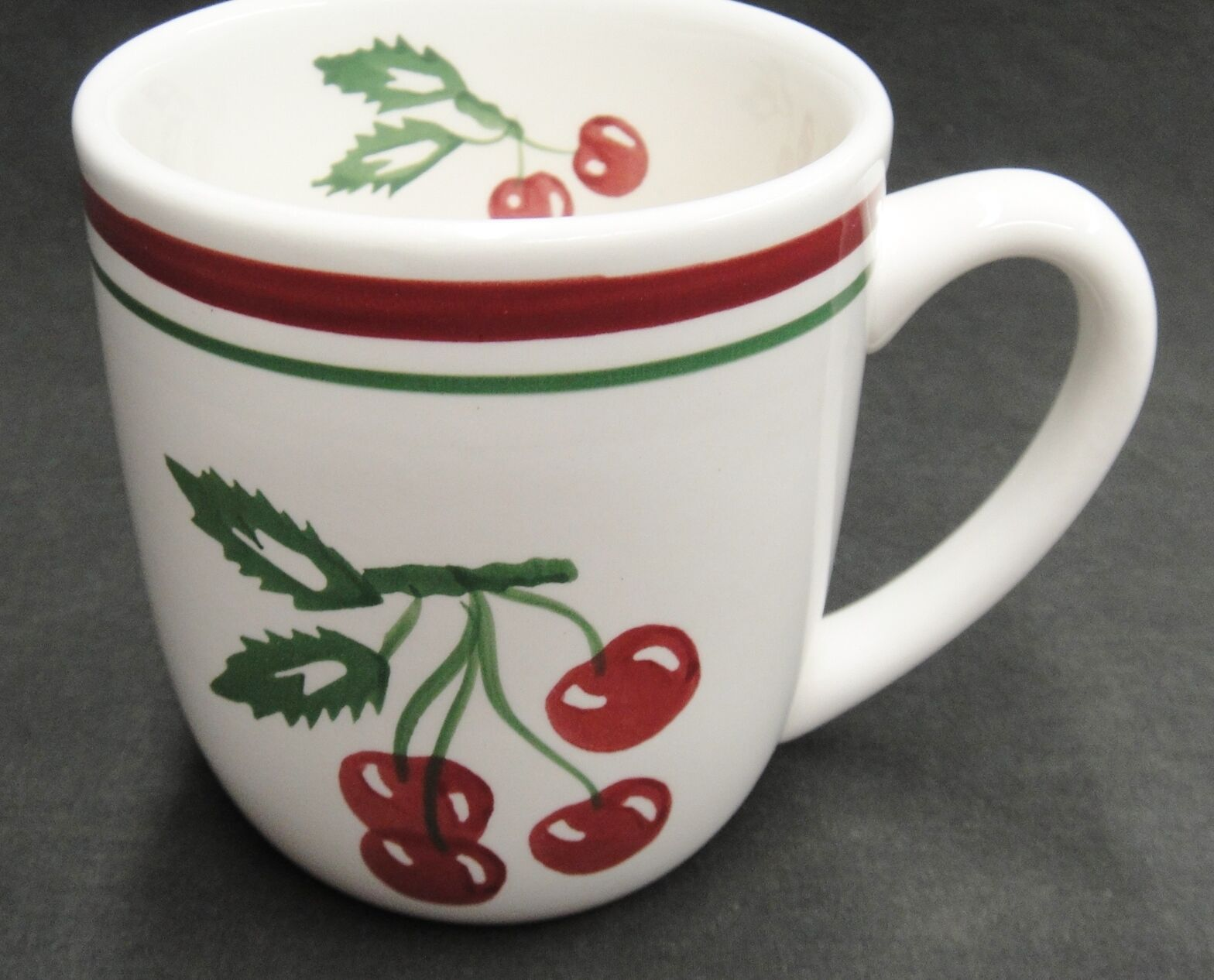 Tag Vintage Cherry Pattern Mug Red and Green Bands Cherries on Stems Leaves