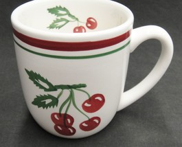 Tag Vintage Cherry Pattern Mug Red and Green Bands Cherries on Stems Leaves - $14.84