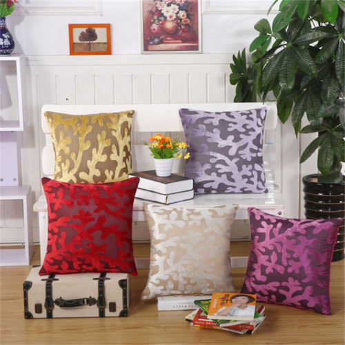"Primary image for 17"" Home Decor Pillow Case Polyester Suede Fiber Seaweed Pattern Cushion Cover"
