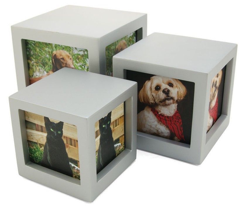 Small/Keepsake Silver Photo Cube Funeral Cremation Urn, 45 Cubic Inches