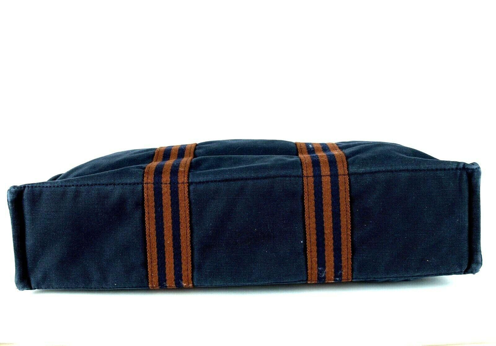 0550481228c5 Authentic HERMES Paris Fourre Tout MM Navy 100% Cotton Canvas Tote Handbag  Purse