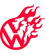 """VW DECAL Volkswagen Flame Width 5"""", 10"""", 12"""" STICKER *FREE SHIPPING* - $5.93+"""