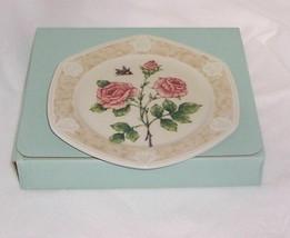 PartyLite Rose Candle Plate Botanical Collection Porcelain Dishwasher Safe  - $17.81
